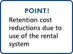 POINT!Retention cost reductions due to use of the rental system